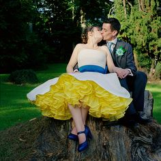 Colored crinoline with the wedding dress!