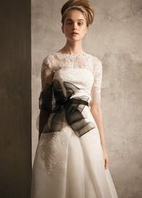 Satin-faced Organza Gown with Illusion Sleeve Piece // White by Vera Wang