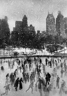 Vintage print of NYC ice skating rink