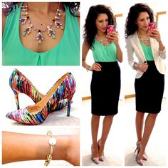 Mink tank, ivory blazer, black pencil skirt with a statement necklace and fun heels