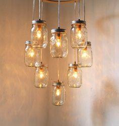 Heart Shaped Mason Jar Chandelier Light  Romantic by BootsNGus, $200.00