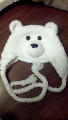 Free Crochet Fuzzy Polar Bear Hat Pattern.