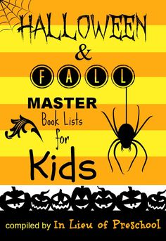 Halloween & Fall book lists for kids with recommendations for fiction, nonfiction, & poetry books!  Take this list with you to the library!!
