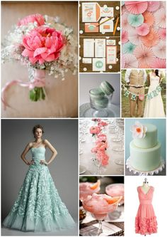 Coral and mint wedding inspiration.