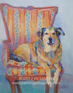 "pet portrait by Kimberly Kelly Santini, ""Vintage"""