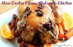 Slow Cooker Cherry Balsamic Chicken http://www.ahappyhealthnut.com