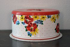 Vintage Cake Tin Platter/Carrier by AlisonMichel on Etsy, $17.00
