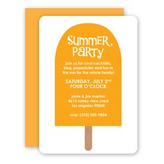 Big Orange Popsicle summer party invitations by rockscissorpaper.com