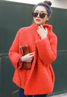 knitting coat, jacket, knit coat, crochet sweaters, knitted coat, crochet sweater coat, blood orange