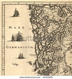stock photo : Ancient map of a southern part of Norway (1630)