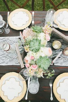 #place-settings, #lace, #succulent, #table-runners, #chargers, #centerpiece, #plates  Photography: One Love Photo - onelove-photo.com  Read More: http://www.stylemepretty.com/2014/08/01/gold-and-blush-hued-outdoor-wedding-in-malibu/