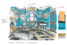 This is an art department sketch of Phryne's salon. #MissFisher #PhryneFisher #sketch #drawing #behindthescenes