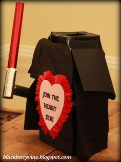 Lego Darth Vader Valentine Box...of course this is what James wants his Valentine's box to look like! holiday, darth vader, craft, valentin box, lego darth, legos, blackberri vine, vader valentin, valentine boxes