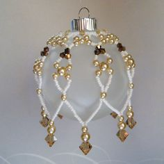 Beaded Christmas Ornament Cover - Gold and Bronze Crystals and Pearls by JewelryBySky, $18.00