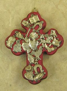 Wooden Cross with Silver Milagros