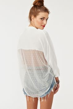Mesh Around Blouse in Ivory