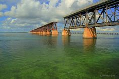 Bahia Honda Key Bridge  This is one the now abandoned bridges that used to carry trains from  Miami to Key West.  The railroad was completed in 1912, but much of  the railbed was washed away in a hurricane some years later.