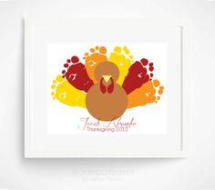 Thanksgiving Decoration Turkey Baby Footprint Art - Baby's First Thanksgiving - Orange, Red, Yellow, Brown Modern Nursery Art