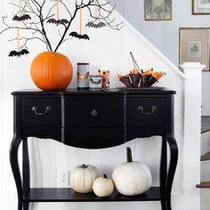 halloween decorations, entry tables, classy fall decor, entry way table decor, tree branches, white pumpkins, halloween decorating ideas, bat tree, halloween ideas