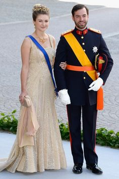 Grand Duchess Stéphanie and Grand Duke Guillaume of Luxembourg at the wedding of Princess Madeleine of Sweden, June 8, 2013 | The Royal Hats Blog
