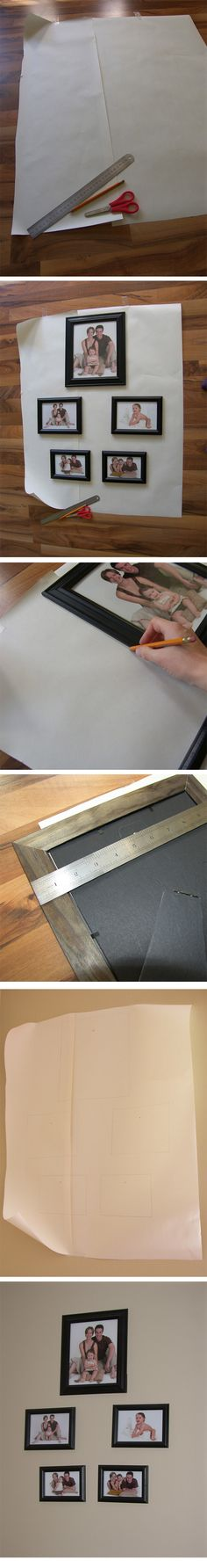 DIY ::  How to arrange and hang multiple frames :: big paper, arrange, draw the outlines, mark nail spots, put paper on the wall, put nails, remove paper ( http://thediydreamer.blogspot.ca/2011/09/how-to-hang-multiple-frames.html )