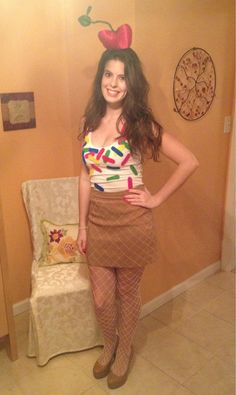 Ice Cream Sundae costume! Style DIY costumes with this super fun, easy tool (WiShi). It's a styling website where you style people's real clothing in their virtual closets. #Fashion #Style #Costume #Halloween #DIY Connect via Facebook for free in seconds. ♥