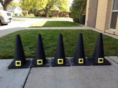 Paint traffic cones black and make a witches hat!! Could do red and white ones with white Pom Pom on top for Xmas!!!