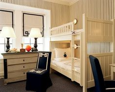 bunk beds; striped walls