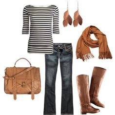 Business casual work outfit: striped top, jeans, brown boots & brown accents. Casual Friday.