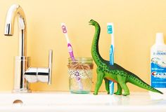 Make your family creative toothbrush holders from these common household items.