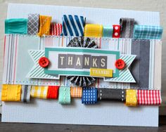 Wow, what a colorful card!  Bright and cheery  fabric snips have been doubled into a tag and sewn onto card stock.  Use your favorite embellishments and thank you stamp to create this handmade card.