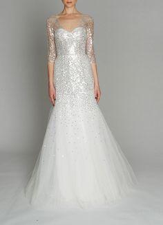 Monique Lhuillier sequined wedding gown