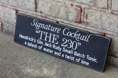 Custom painted wood sign - Signature Cocktail Bar sign (great for a wedding reception!) #woodsign #customsign #signaturecocktail #weddings #receptionideas | SignsByAndrea.com