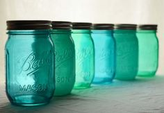 Perfect Happiness Jars ~ Stained Glass Mason Jars - Set of 6 - By The Sea