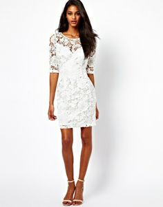 Lipsy white Lace Dress with 3/4 Sleeve
