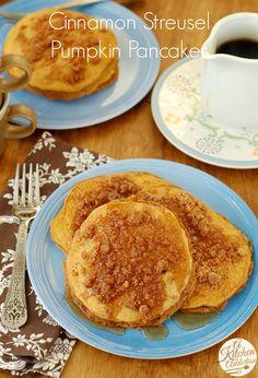 Cinnamon Streusel Pumpkin Pancakes l www.a-kitchen-addiction.com