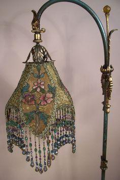 Cast Jeweled Bridge Floor Lamp Hand Beaded Fringe