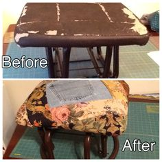 Redid a footstool with scrap fabric.