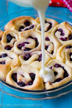 Blueberry Sweet Rolls with Lemon Glaze.