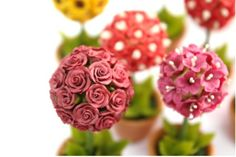 Miniature Polymer Clay Flowers Supplies Miniature by Mycraftgarden, $9.50 #Miniature #PolymerClayFlower #Sweet  #Handmade #Supply #Dollhouse #Craft #Art #Tiny #Mycraftsgarden #topiaryRoses