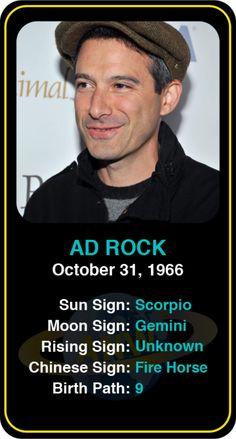 Celeb #Scorpio birthdays: Ad Rock's astrology info! Sign up here to see more: https://www.astroconnects.com/galleries/celeb-birthday-gallery/scorpio?start=30  #astrology #horoscope #zodiac #birthchart #natalchart #adrock #beastieboys