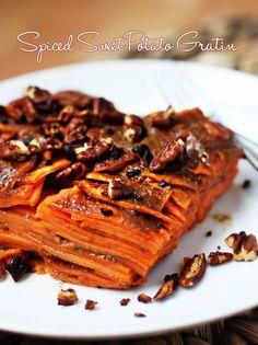 Spiced Sweet Potato Gratin | #thanksgiving #autumn #holiday #food #dinner #savory #baking