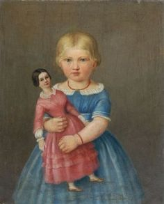 """Unknown German artist """"Girl with doll"""". Around 1850. Oil on canvas. Unsigned. Paint with minimal craquelé. In gold-coloured stucco-frame."""