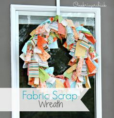 EASY DIY 30 minute Fabric scrap wreath {Onekriegerchick.com}