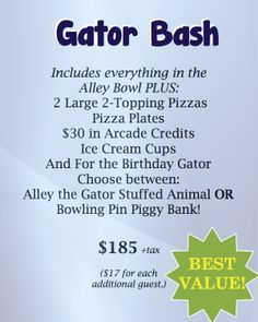 The best package, the Gator Bash!  Have your bowling party at Mel's Lone Star Lanes.  Enjoy bowling, sodas, pizzas, ice cream cups & more!  #BowlingParty #GeorgetownTX