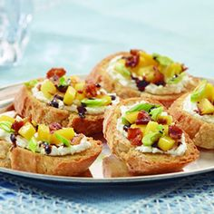 Goat Cheese, Bacon and Mango Crostini