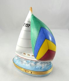 Limoges Tiffany Co Trinket Box Peint Main Sailboat Boat Ocean Porcelain | eBay