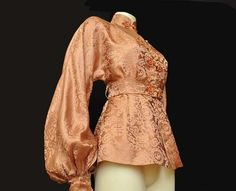 Vintage 1940's 50's Silk Chinese Fitted Jacket. I love the sleeve balloon at the  & nice champagne colour