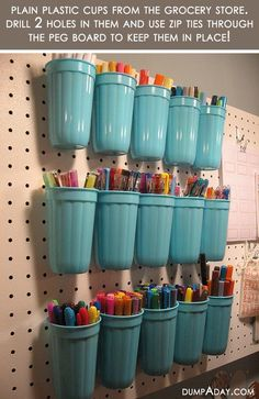 Use plastic tumblers for cups. Drill 2 holes in them and use zip ties to hold them in place.