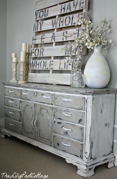 painted furniture and diy crate artwork. Beautiful together... Leanne - you could paint and write your and Matt's name & date of wedding for at the end of the road at the farm...with balloons.